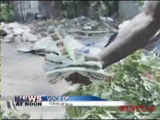 CVM Newscast of the Cargill Avenue eviction where the truckmen/movers found and commented on the condoms they found